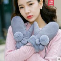 手套女韩版绒质保暖甜美可爱加厚挂脖加绒骑车卡通萌毛绒骑行棉