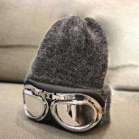 韩版潮眼镜毛线帽子韩国东大门加厚保暖针织兔毛帽女士冬季春秋天