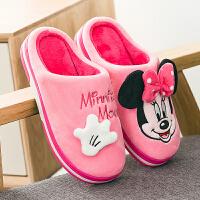 迪士尼亲子棉拖鞋女情侣卡通可爱家居地板儿童保暖加厚棉拖鞋冬男