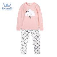 【双十二狂欢】水孩儿souhait女童家居服套装纯棉舒适儿童睡衣套装女长袖薄款2018新款AMQ0744528