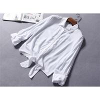 加拿大单随性绑带下摆舒适降温翻领两穿袖衬衫有大码春夏女装0.16