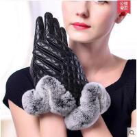 手套 女全指手套 防滑耐磨手套 真皮手套女士触屏皮手套羊绒加厚保暖羊皮手套女式手套分指