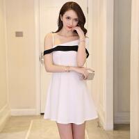 809【实拍】新款宴会聚会生日派对女黑色连衣裙短款年会显瘦名媛
