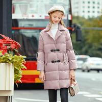 毛菇小象中长款粉色外套女冬装2019新甜美可爱棉衣加厚面包服