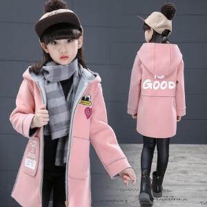百槿 秋冬女童连帽加厚保暖呢子外套 中大童呢子加厚连帽外套