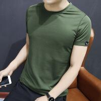 男士短袖t恤2018新款韩版潮流衣服修身纯色速干半袖体恤
