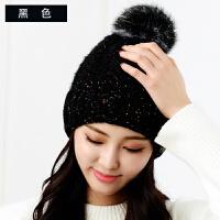 帽子女冬潮韩版百搭针织帽加绒加厚保暖护耳毛球学生甜美帽子