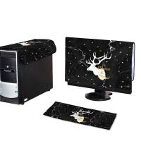20191130131129335简约现代电脑罩曲面显示器台式机一体机盖布32寸防尘防晒装饰罩 金字鹿头黑白大理石纹