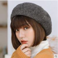 贝雷帽女网红同款时尚韩版百搭日系羊毛呢南瓜帽英伦画家黑色蓓蕾帽报童帽户外运动新品