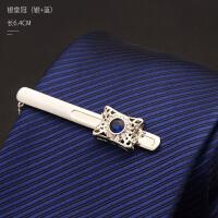 2018082607484422018新款领带夹男士商务正装定制职业水晶韩版简约银色金色夹子礼盒装