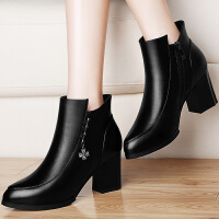 古奇天伦短靴女秋冬季新款女鞋 时尚粗跟性感高跟靴保暖踝靴及裸靴结婚鞋工作鞋 8502
