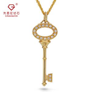 先恩尼钻石 项链 黄18K金群镶钻石 钥匙吊坠 经典款 钥匙 DZ098钻石