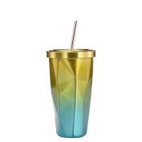 不规则双层304不锈钢吸管杯水杯子冰杯咖啡杯冰霸杯礼品定制刻字 吸管款 金色 500ml