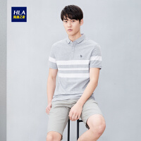 HLA/海澜之家条纹半开襟短袖POLO2019夏季新品舒适套头POLO男