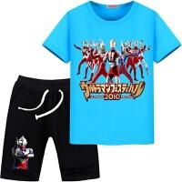 超人奥特曼图案童装夏季男童女童纯棉短袖T恤衣服中裤套装