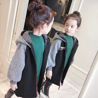 女童外套装2017新款呢子大衣韩版洋气中大童毛呢中长款儿童风衣