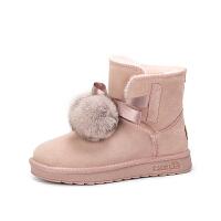 camel骆驼女鞋 冬季新款 平跟甜美少女舒适防滑雪地靴短筒女