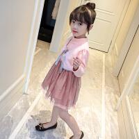 女童加绒公主裙连衣裙粉色假两件带马甲小背心春秋2017裙子女孩 粉红色 加绒