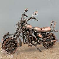 铁艺大号摩托车摆设室内装饰品摆件创意复古摆饰家居艺术品酒柜Q