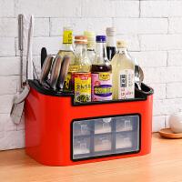 家居日用调料盒套装厨房用品用具调味盒调料罐佐料盒糖盐罐厨房收纳盒家用收纳用品 升级带门款 大号6抽屉 红色