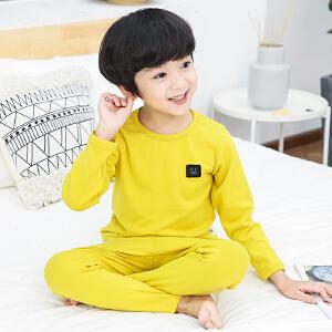 童装2018秋季新款男童纯色怪兽睡衣儿童长袖套装宝宝时尚家居服