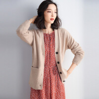 针织衫 女士V领单排扣拼接长袖针织衫2020年秋季新款韩版时尚女式清新甜美宽松休闲女装开衫