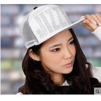 户外女帽棒球帽子夏天女士街舞嘻哈帽网眼遮阳平沿字母镶钻韩版潮