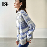 OSA欧莎2021年秋季新款宽松不规则花纹交叠针织开衫毛衣女