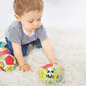 【当当自营】费雪FisherPrice 12片动物认知球 4寸婴儿手抓球摇铃球铃铛球婴儿玩具球布球F0807