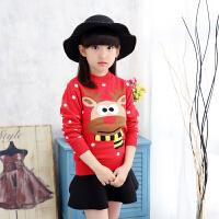 2017秋新款女童韩版羊绒衫针织儿童羊毛卡通鹿保暖毛衣休闲童装