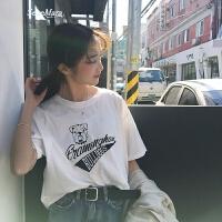小清新上衣女夏韩版宽松圆领卡通字母印花白色ins短袖T恤女 白色 S
