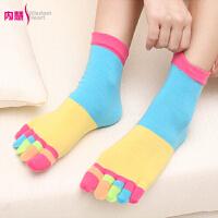 [6双装]内慧 女秋冬纯棉袜可爱创意五指袜女袜五趾袜子 5031