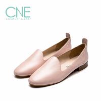 CNE2019春夏新款小白鞋女圆头平底乐福鞋懒人鞋女单鞋AM06312