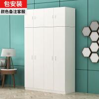 现代简约大容量衣柜板式衣柜带顶柜可分拆自由组合二三四门大容量储物柜阳台柜收纳柜 2门组装