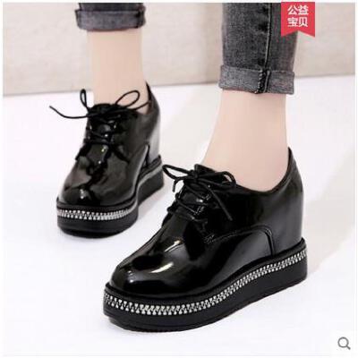小皮鞋子女冬季新款英伦风高跟鞋女chic加绒单鞋学生百搭女鞋