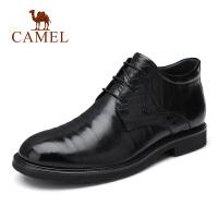 camel骆驼男鞋 秋冬新款牛皮靴子商务皮鞋加绒保暖短筒系带皮靴