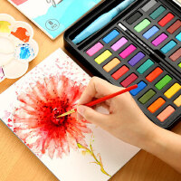乔尔乔内水彩颜料套装24色36色水彩画学生手绘便携画笔本套装固体水粉饼铁盒初学者不透明绘画工具成人留白液