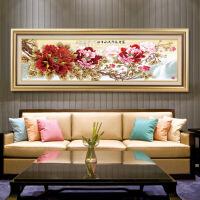 国画牡丹手绘沙发背景墙装饰画新中式客厅壁画挂画墙画 (2)