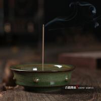 龙泉青瓷鼓状香插日本玻璃釉莲花复古柴窑陶瓷线香香插香炉
