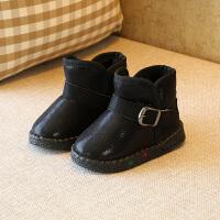 女宝宝小靴子棉鞋季加绒保暖雪地靴女童防水1-3岁2男童短靴 黑色 21码内长13厘米