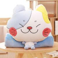 汽车抱枕毯子午睡灰色猫咪办公室二合一车载可爱午休毯枕头靠垫被 插手抱枕带毯子