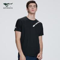 七匹狼T恤男2020夏季新款男士黑色短袖体恤男装休闲上衣圆领印花