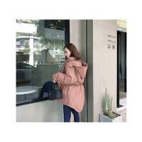韩版冬季连帽前短后长宽松女士棉衣外套加厚不规则大码潮 均码