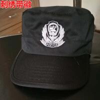 林雨季 高档正品保安帽子新式99作训帽特训帽09战术特种作战帽男 黑色带徽特勤物业执勤治安