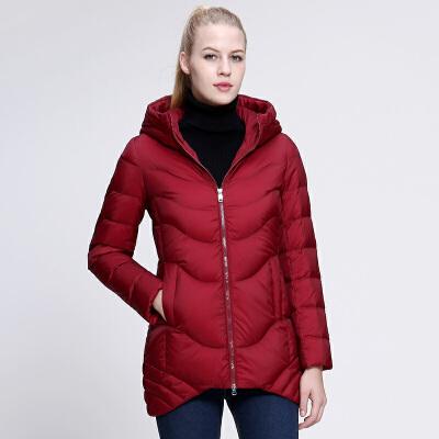 坦博尔冬季女士中长款燕尾连帽青春活力羽绒服TD3398