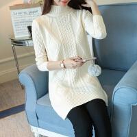韩版麻花半高领长袖打底针织衫套头毛衣女中长款秋冬加厚GT339-57042+