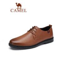 骆驼2019春夏新款男士商务休闲皮鞋牛皮系带办公皮鞋子通勤上班族