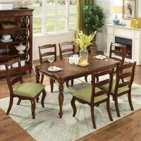 【限时直降3折】美式乡村实木餐桌椅组合 大户型吃饭桌子餐台餐厅家具