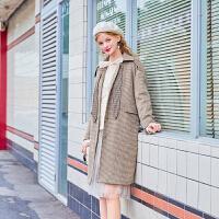 毛菇小象复古千鸟格毛呢外套女中长款冬2019新款时尚个性呢子大衣