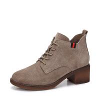 camel骆驼女鞋 冬季新品时尚简约系带休闲靴子粗跟保暖短靴